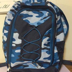 "Blue camo backpack, NEW, roomy, 14"" x 17"""